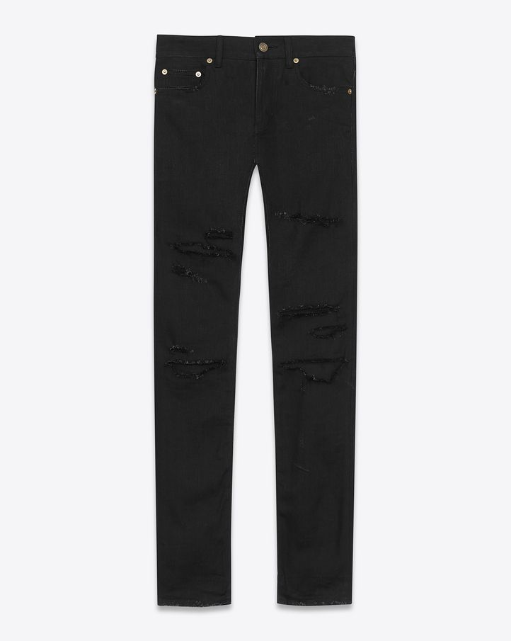 9eea10df478 Yves Saint Laurent - Original Low Waisted Destroyed Skinny Jeans in Black  Trash Denim