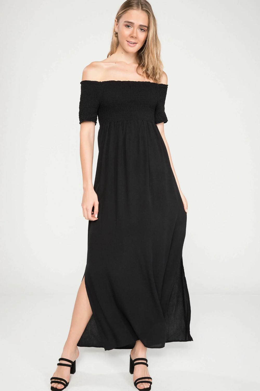 Siyah Kadin Lastik Dikisli Elbise 909155 Defacto Uzun Elbise The Dress Elbise