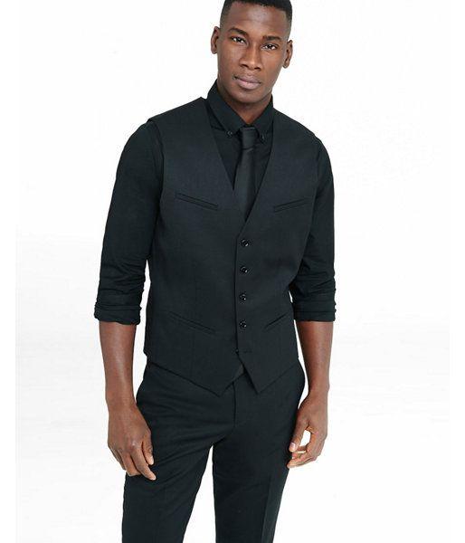 2357b58c4425de Black Wool Blend Suit Vest Black Men s L