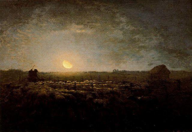Painting by Jean François Millet,Landscape oil painting,figurative painting,moon in painting