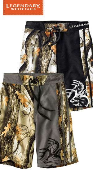 9f7fa83291 Swim trunks or board shorts – this pair can handle both. These God's  Country® Camo Swim Shorts are made from a unique brushed 100% poly sateen  fabric that's ...