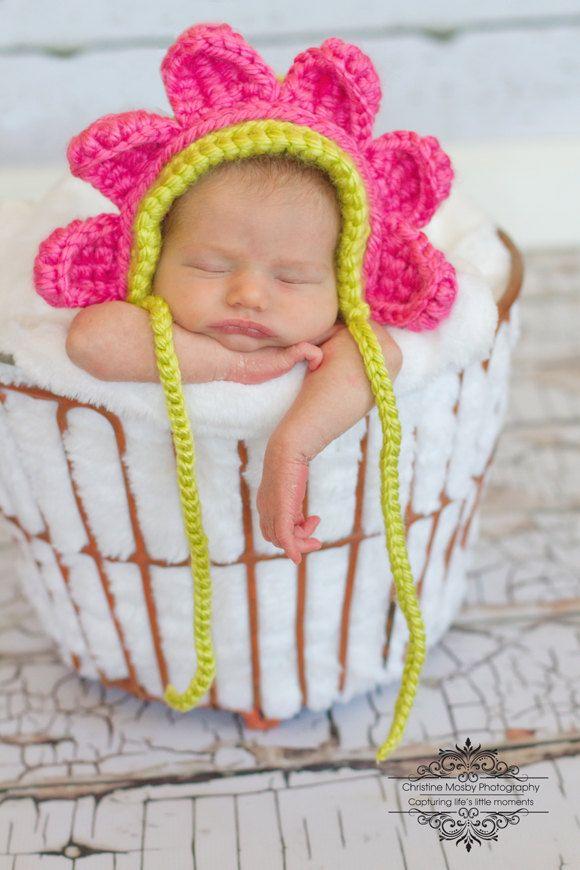 Crochet Flower Bonnet | DIY & Ideas Crochet | Pinterest | Babymütze ...
