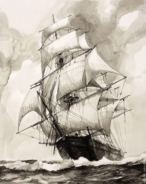Картинки парусника черно белые