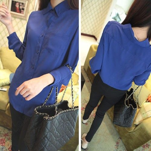 Discount China china wholesale Women Candy Color Button-front Slim Long Sleeve Chiffon Shirts Blouse Tops [31483] - US$10.99 : Bluelans