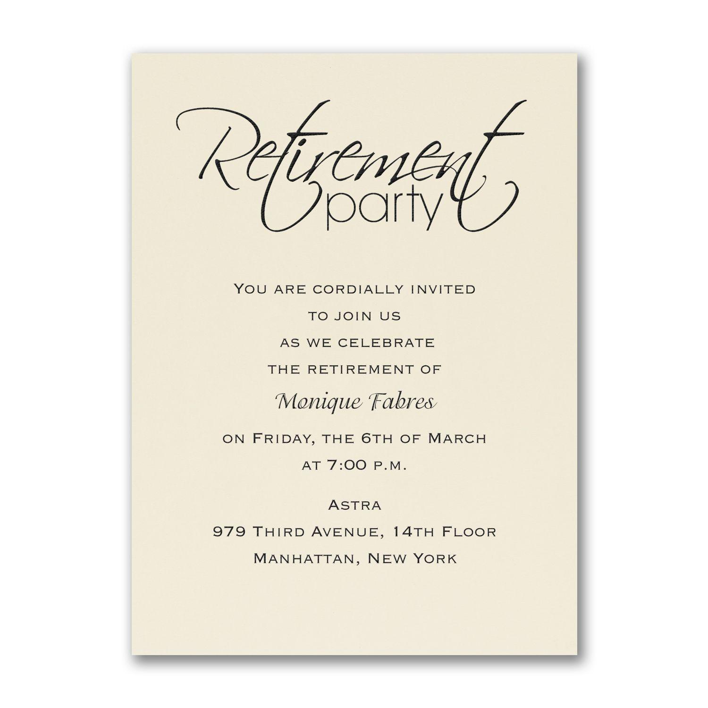 Retirement Celebration - Party Invitation - Ecru | Misc Print Ideas ...