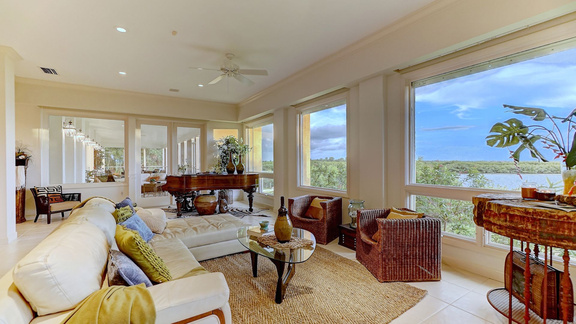 Staged Family Room in PARRISH HOME on the Manatee River