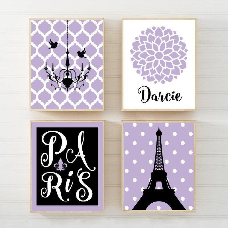 Paris Wall Art Prints Or Canvas Eiffel Tower Decor Purple Etsy Paris Wall Art Elephant Wall Art Nursery Custom Wall Art
