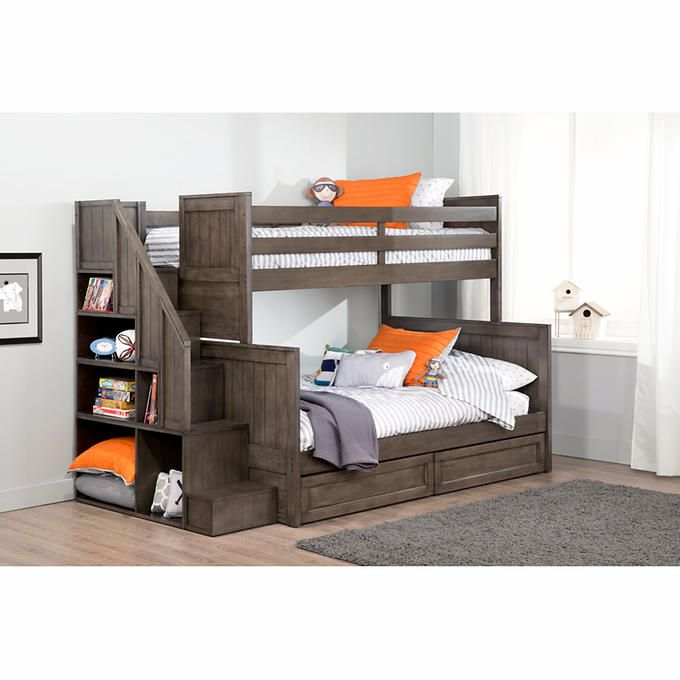 Ryan Twin Over Double Bunk Bed With Universal Staircase COSTCO