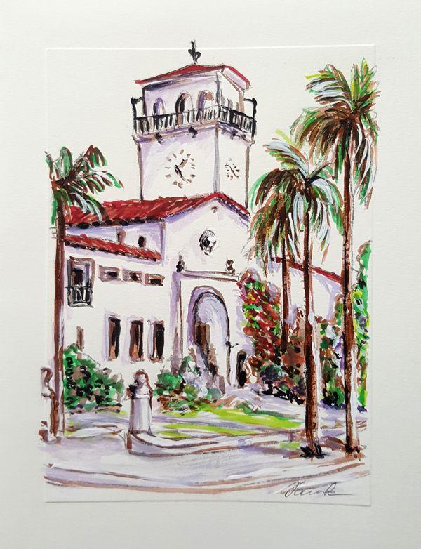 Santa Barbara Courthouse Sketch By Artist Danuta Bennett Www Danutabennett Com Santabarbara Architect Watercolor Sketch Santa Barbara Courthouse Artist