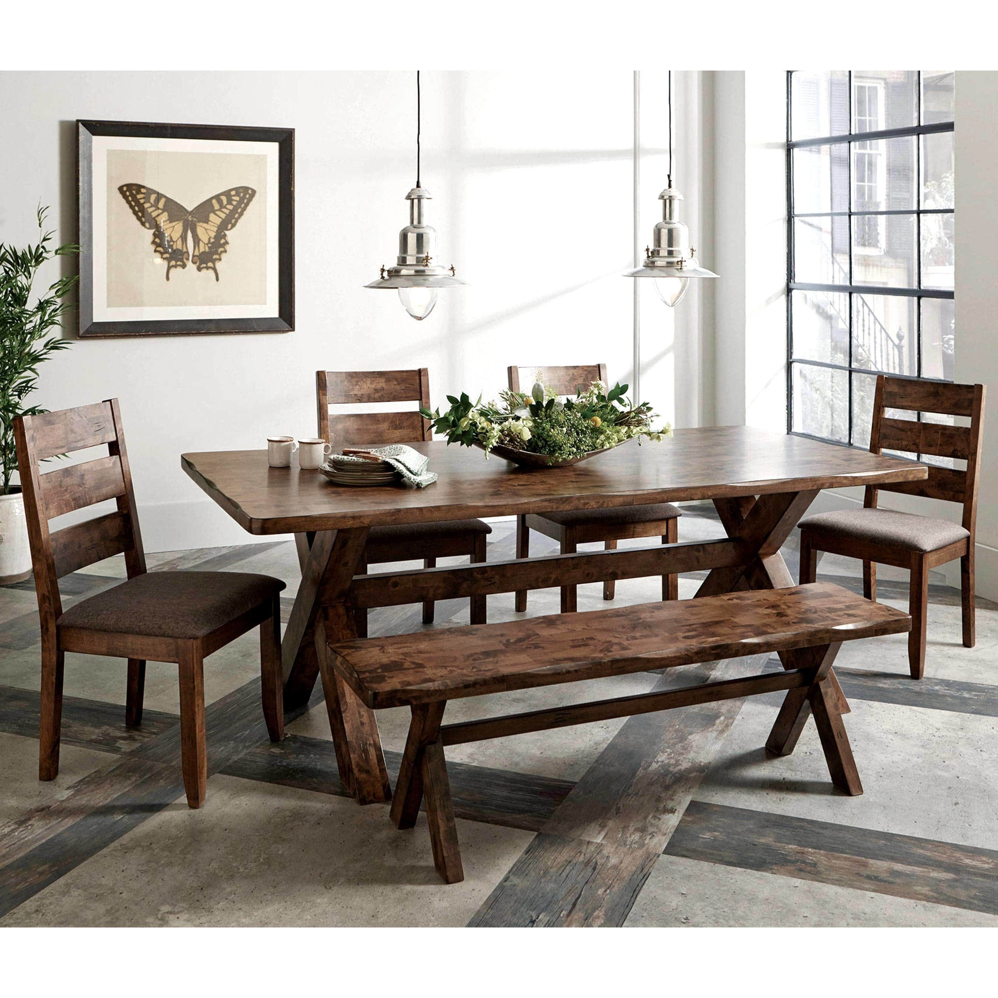 Rustic Knotty Burl Designed Country Style Dining Set (1 ...