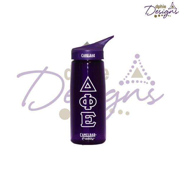 DPhiE Designs Gifts - Purple Delta Phi Epsilon Letter Camelbak!! You need this!!