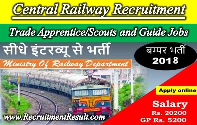 Central Railway Recruitment has been displayed by the