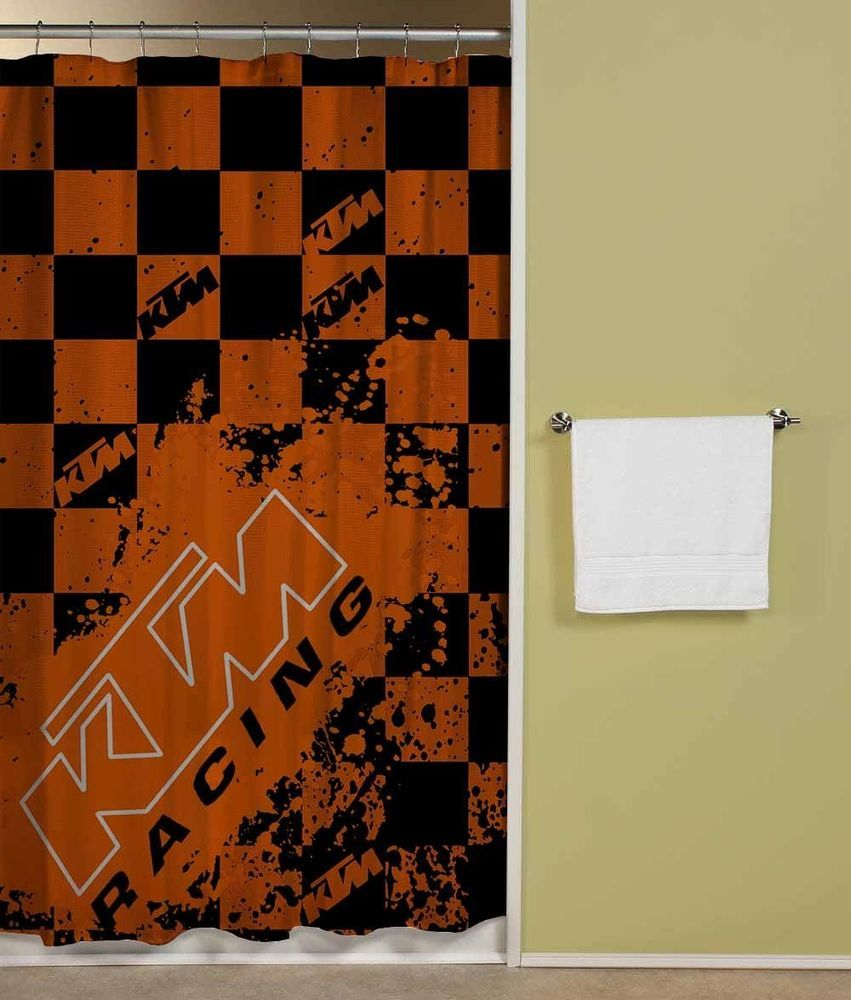 KTM Racing Ready To Race Orange Flag Shower Curtain 60x72 Print On