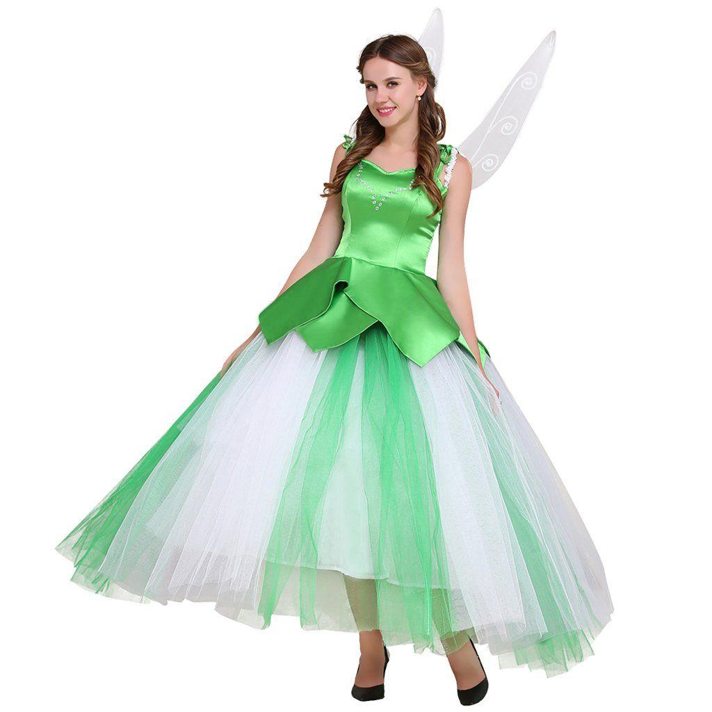 CosplayDiy+Tinker+Bell+Dress+Adult+Women+Green+Long+Dress+Cosplay+ ...