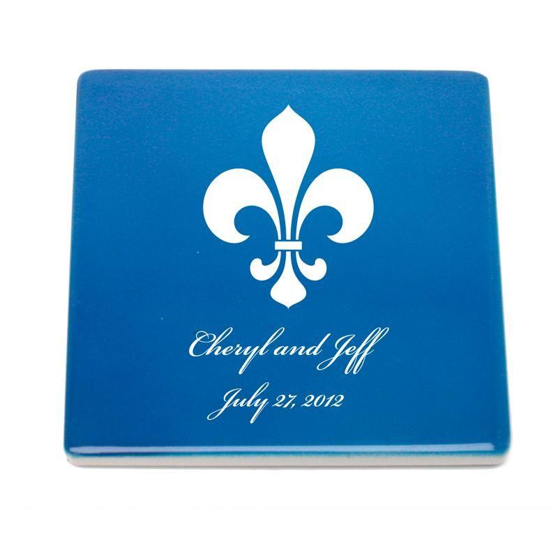 Fleur de Lis Personalized Ceramic Coasters
