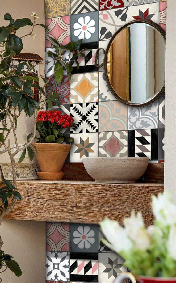 Patchwork Mix Wallpaper en fond d\u0027écran amovible en vinyle Rose