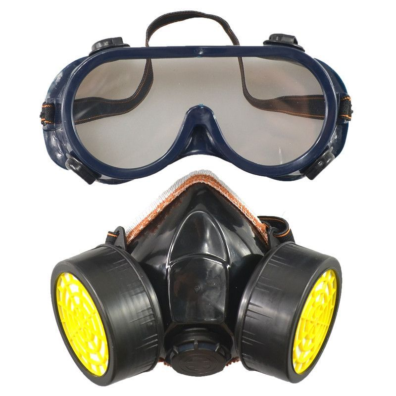 Dual Chemical Gas Respirator Mask Glasses Set