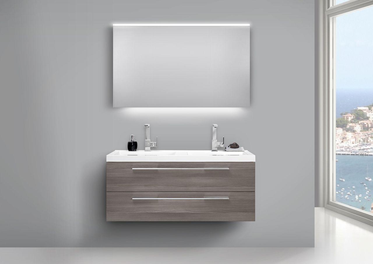 Design Badezimmermöbel Set mit Doppelwaschbecken und LED ... | {Badezimmermöbel doppelwaschbecken grau 43}