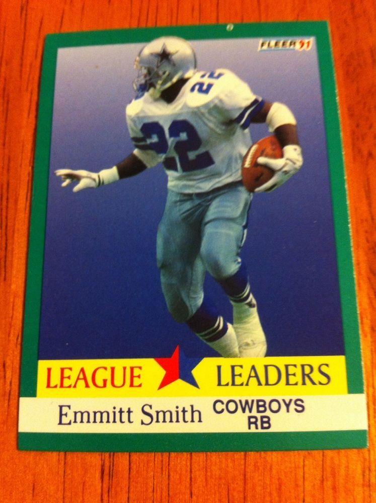 1991 fleer 418 emmitt smith league leaders dallas cowboys