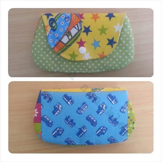 3 pocket clutch purse in patchwork campervan by SunNSparkles, £7.50