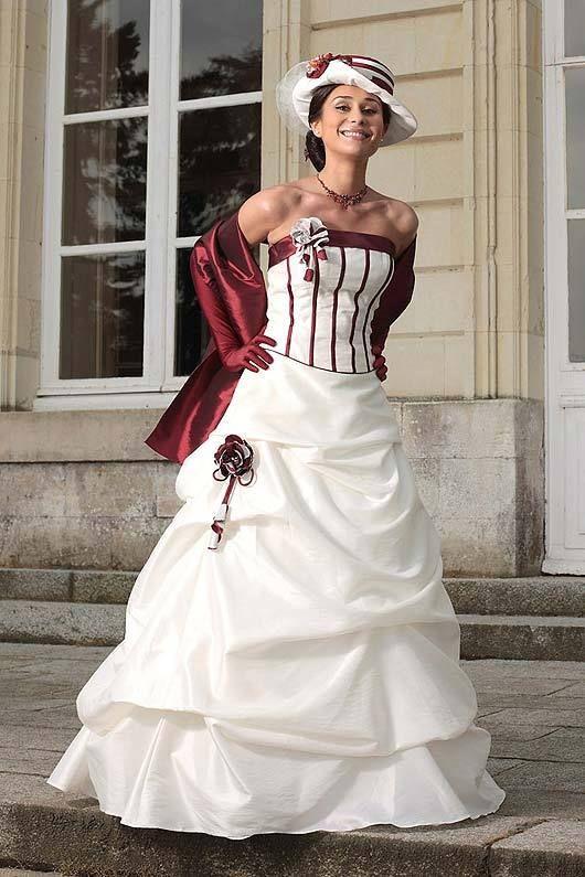 Robe de soiree pour mariage rouge et blanche