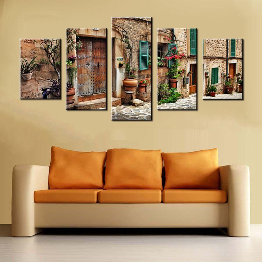 Photo of 5 Panel Wall Decor Old Mediterranean Town – 30x40cm 30x60cm 30x80cm / Frame
