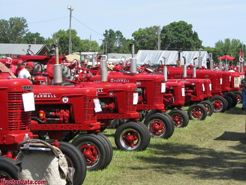 Row of Farmall letter and hundred series tractors
