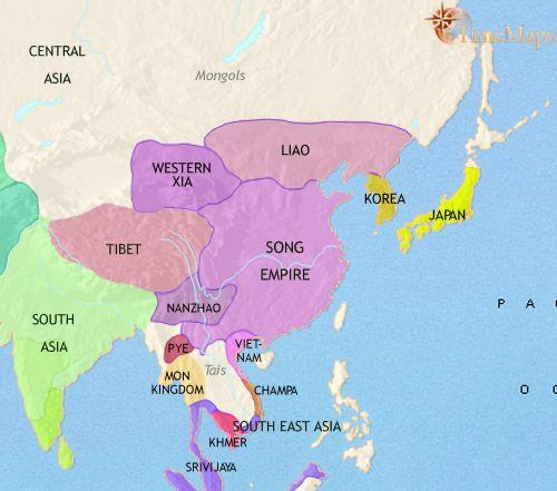 history map of East Asia China Korea Japan 979AD  History