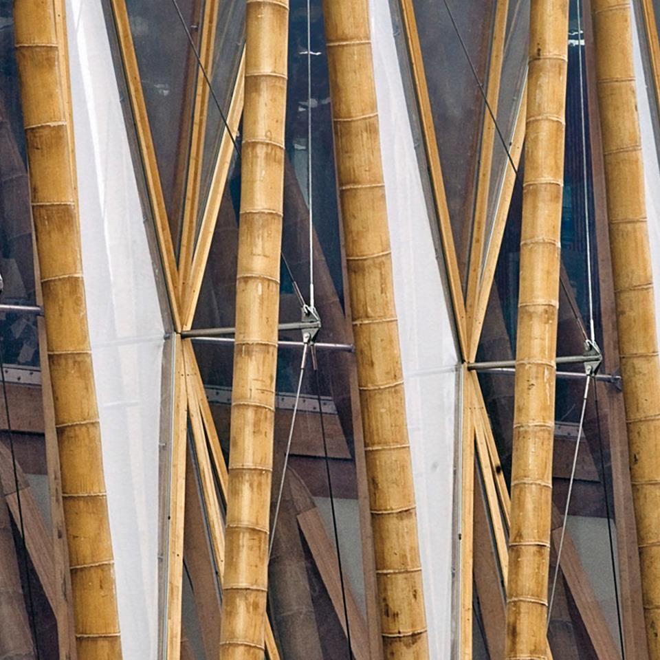 Detalle tensores en muro cortina de bamb casas de campo - Cortina de bambu ...