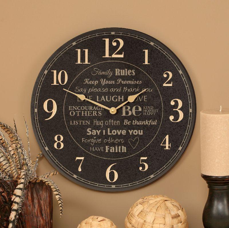 Family Rules Clock 67 99 Christian Home Decor Clocks