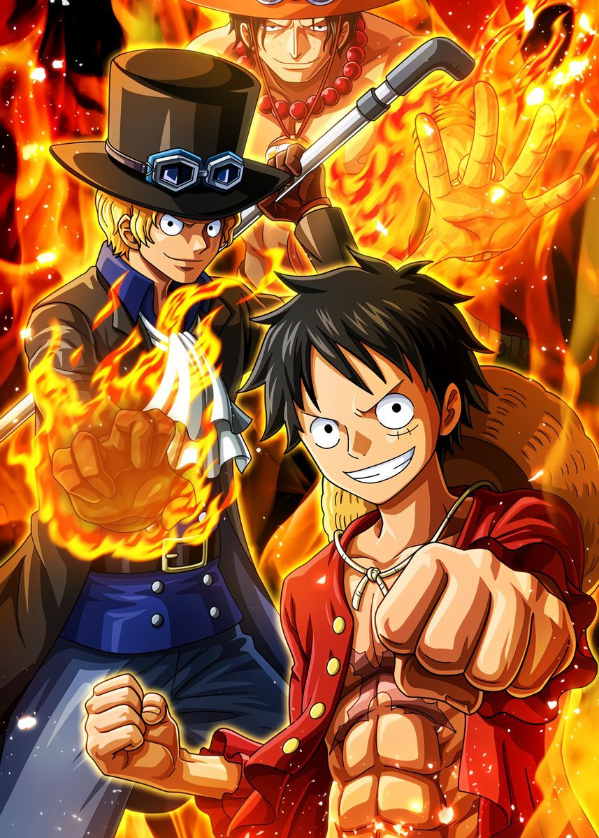 Luffy Sabo Ace Poster By Onepiecetreasure Displate One Piece Wallpaper Iphone Manga Anime One Piece Ace And Luffy Anime wallpaper for vivo y53