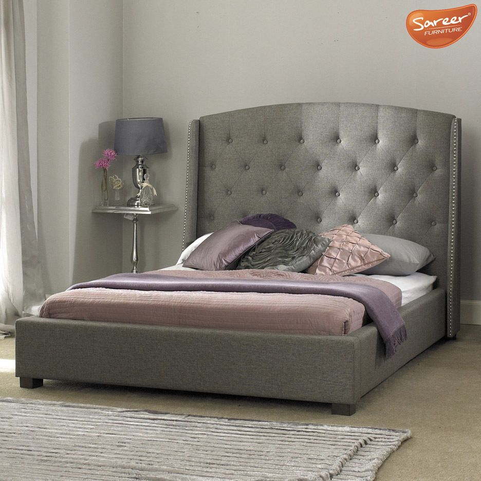 Signature Grey Fabric Bedframe Tall Button Winged Headboard 4ft6