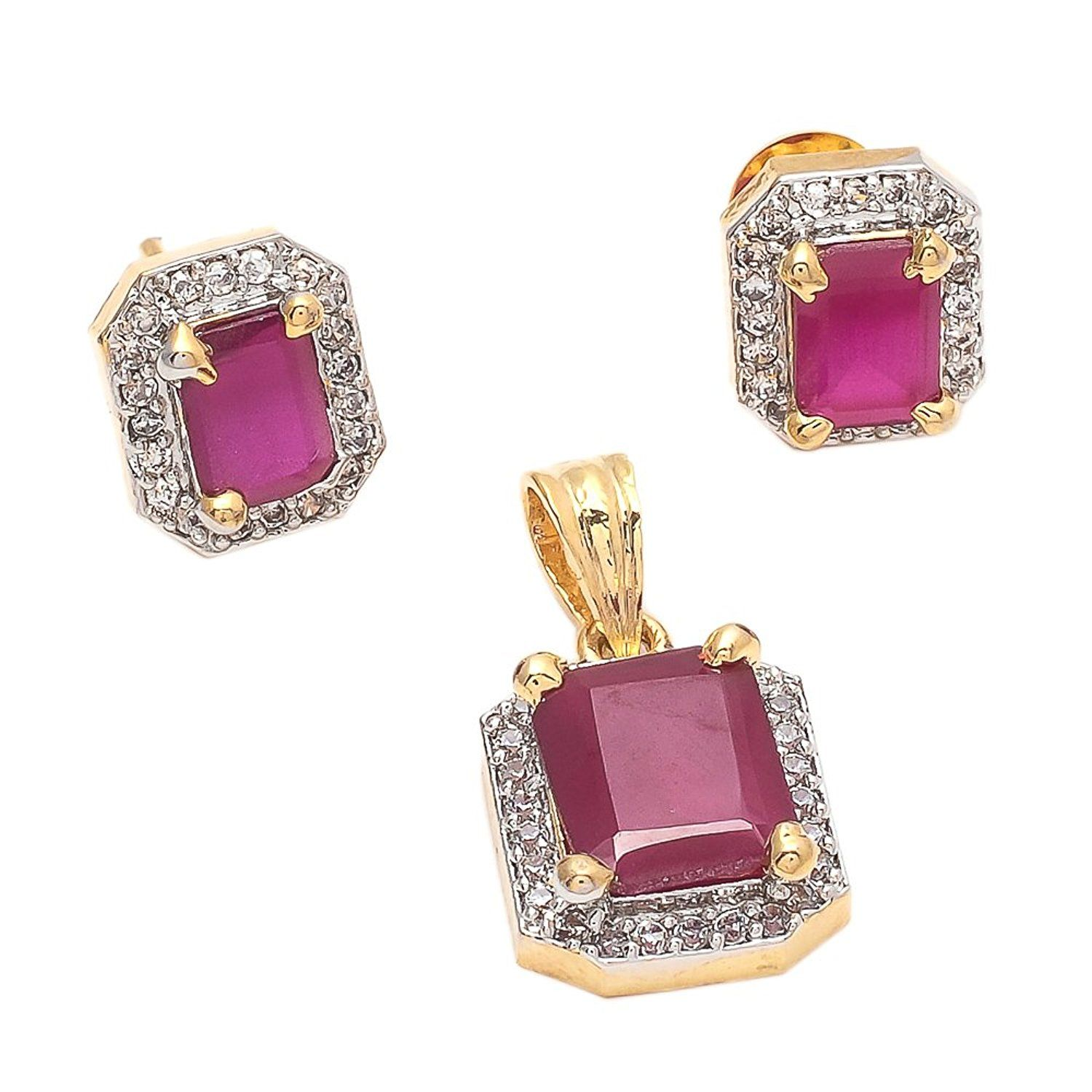 Geode delight gold plated ruby colored stone american diamond