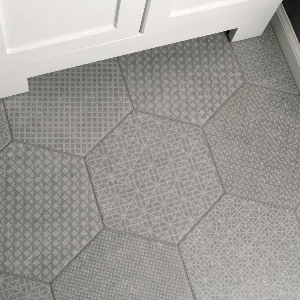 Merola Tile Coralstone Hexagon Melange Grey 10 In X 11 1 2 In Porcelain Floor And Wall Tile 11 21 Sq Ft Case Feqcsxmg The Home Depot Porcelain Flooring Flooring Bathroom Flooring