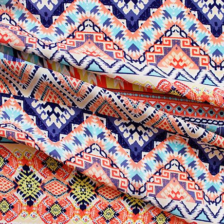 Georgette - Aztec Mint and Coral | Semi-sheer polyester georgette. 140cm wide.