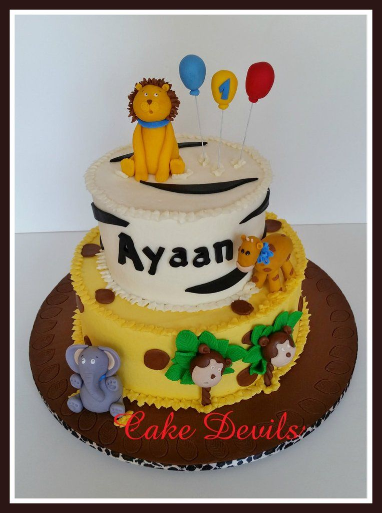 Safari 1st Birthday Cake Jungle Cake 1st Birthday Party Lion