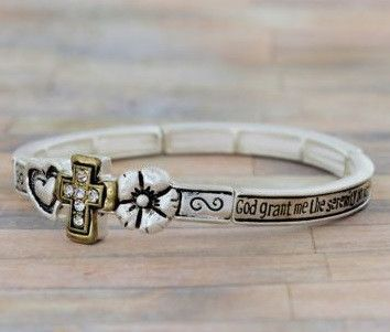 Serenity Prayer Matte Two-Tone Stretch Bangle