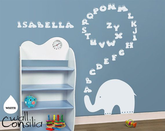 Baby Nursery Wall Decal   Elephant Wall Decal   Elephant Alphabet Decal, Nursery  Wall Sticker, Large: 71 High And 35 Wide  As Shown  Via Etsy