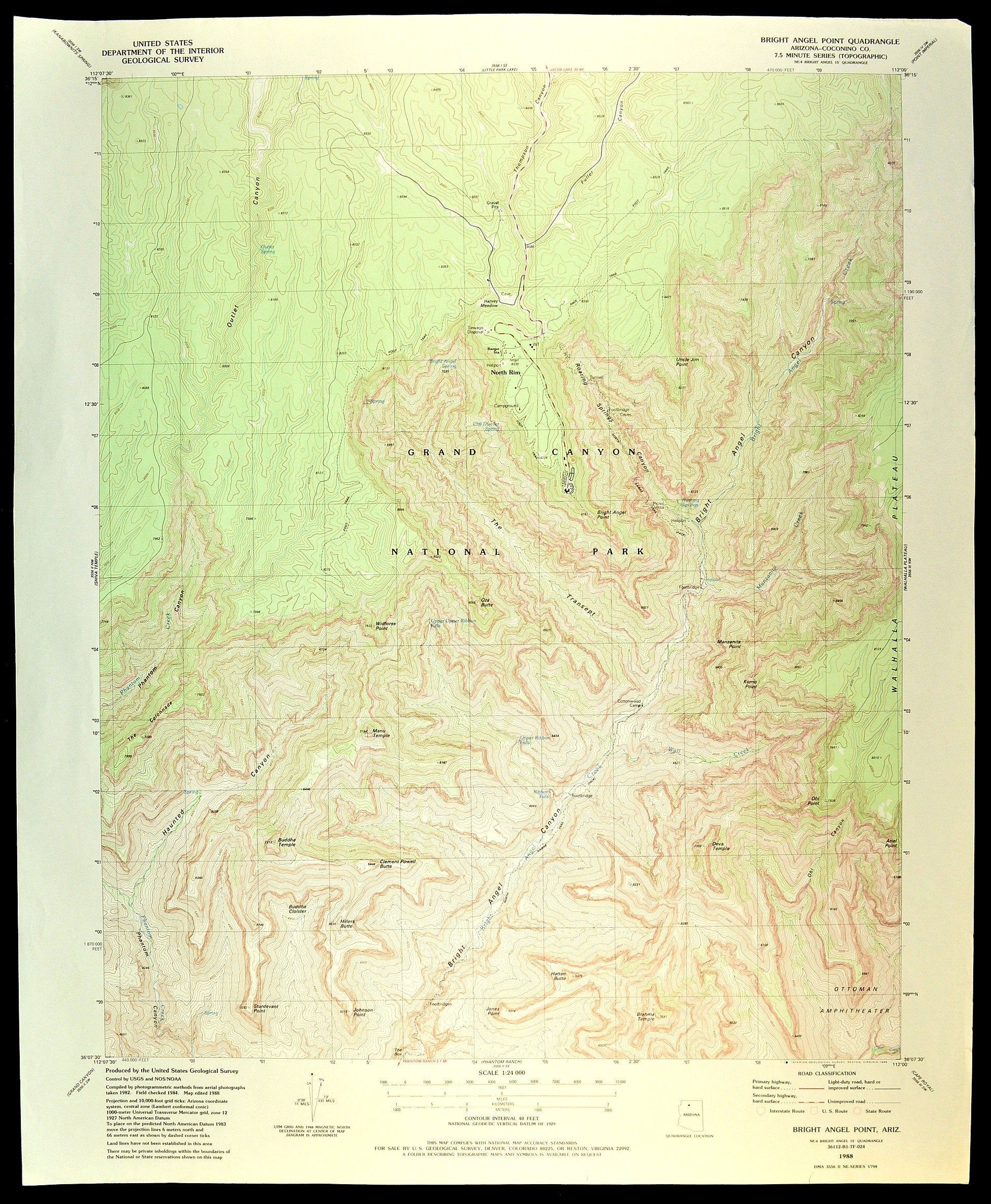 Grand Canyon National Park Map Of The Grand Canyon Art Print