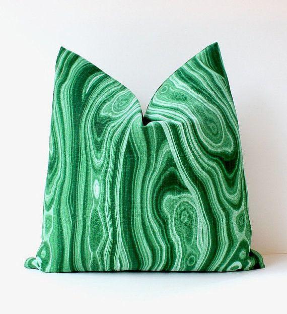 This malachite pillow would look gorgeous on a dark rich sofa!  #Brass #Malachite #Green #Gold #KellySuttonDesignLLC #Pillow