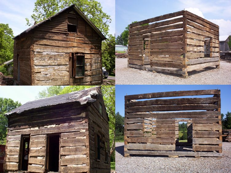 Pre Civil War Appalachian Log Cabin V Notch And Small Chink Joints.