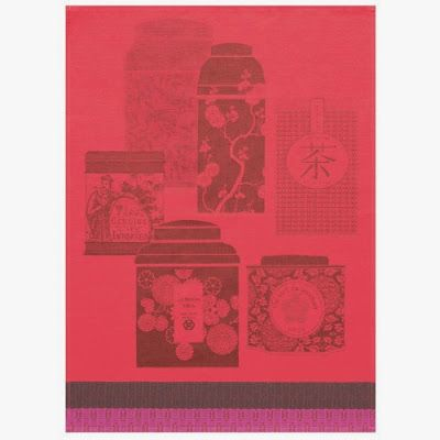 Thes Du Monde Tea Towel, Red, $24, from Le Jacquard Francais