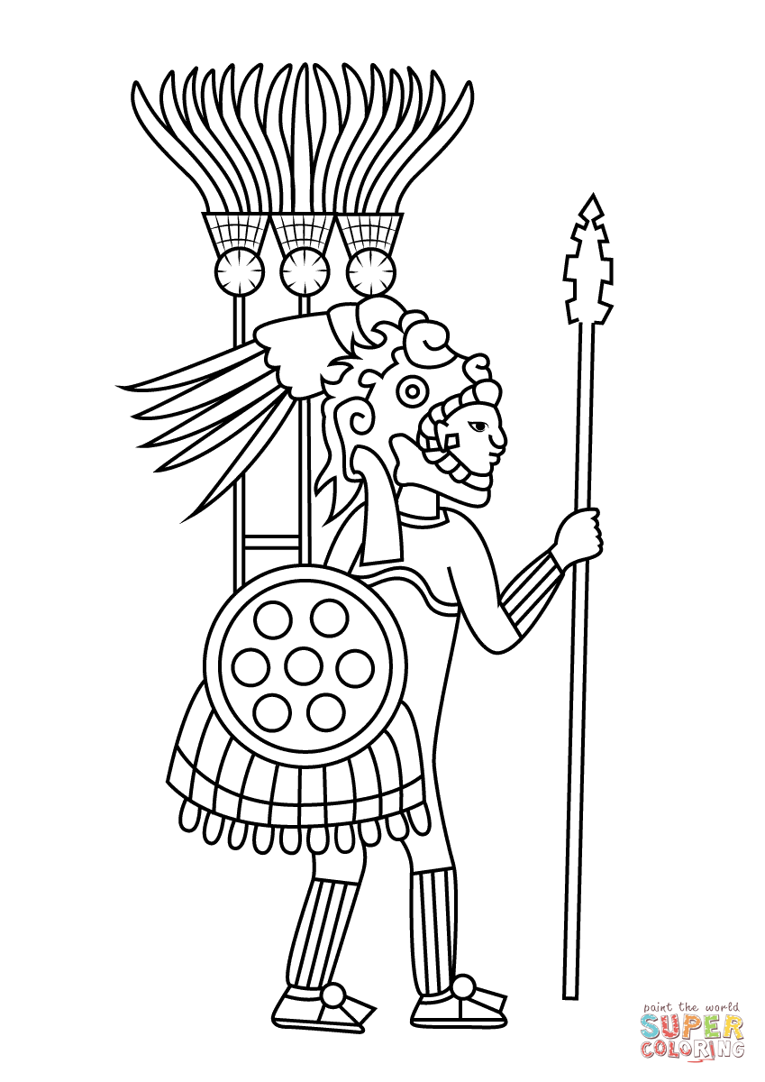 Aztec Warrior Coloring page  Free Printable Coloring Pages