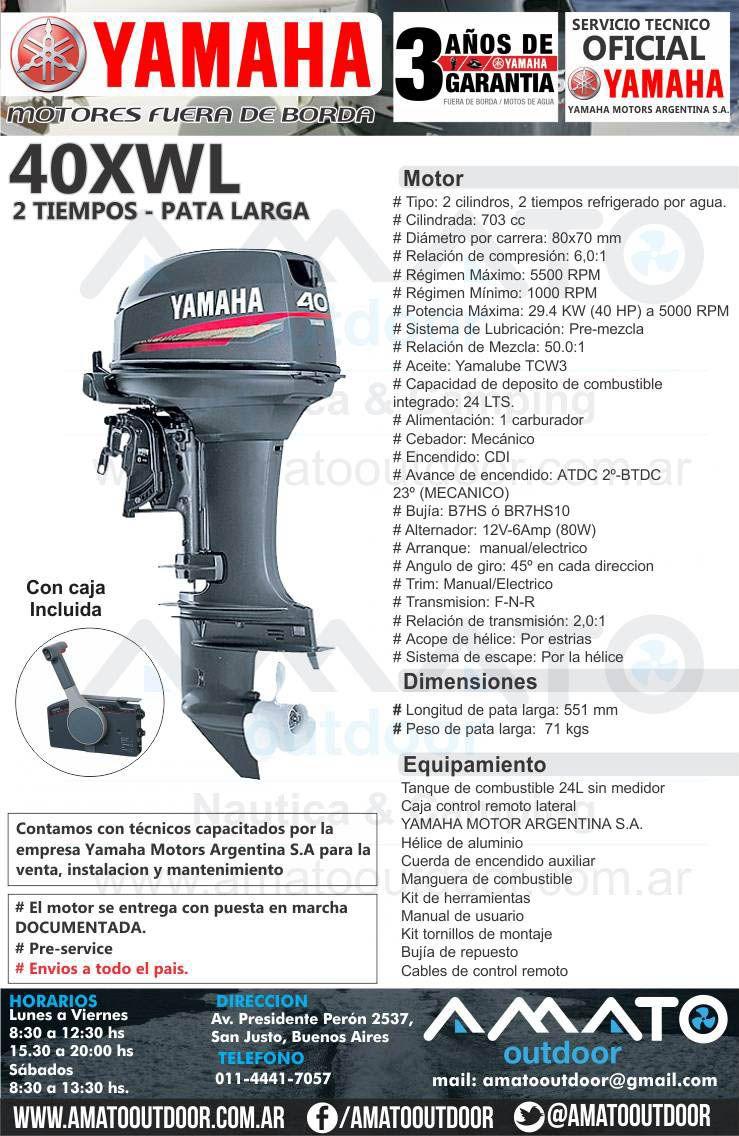 Motor Fuera de Borda Yamaha 40 hp 2 tiempos 40XWL Pata Larga Arranque  Electrico