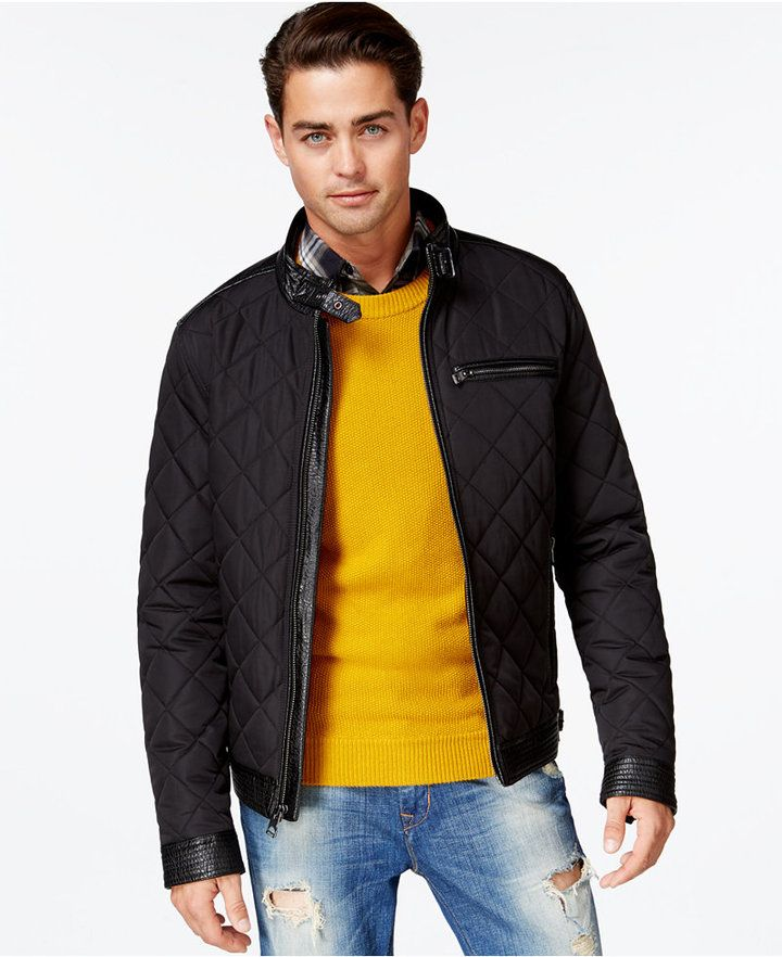 0f4f32e64 GUESS Mixed-Media Quilted Jacket | Men's Jacket Under $500 | Quilted ...