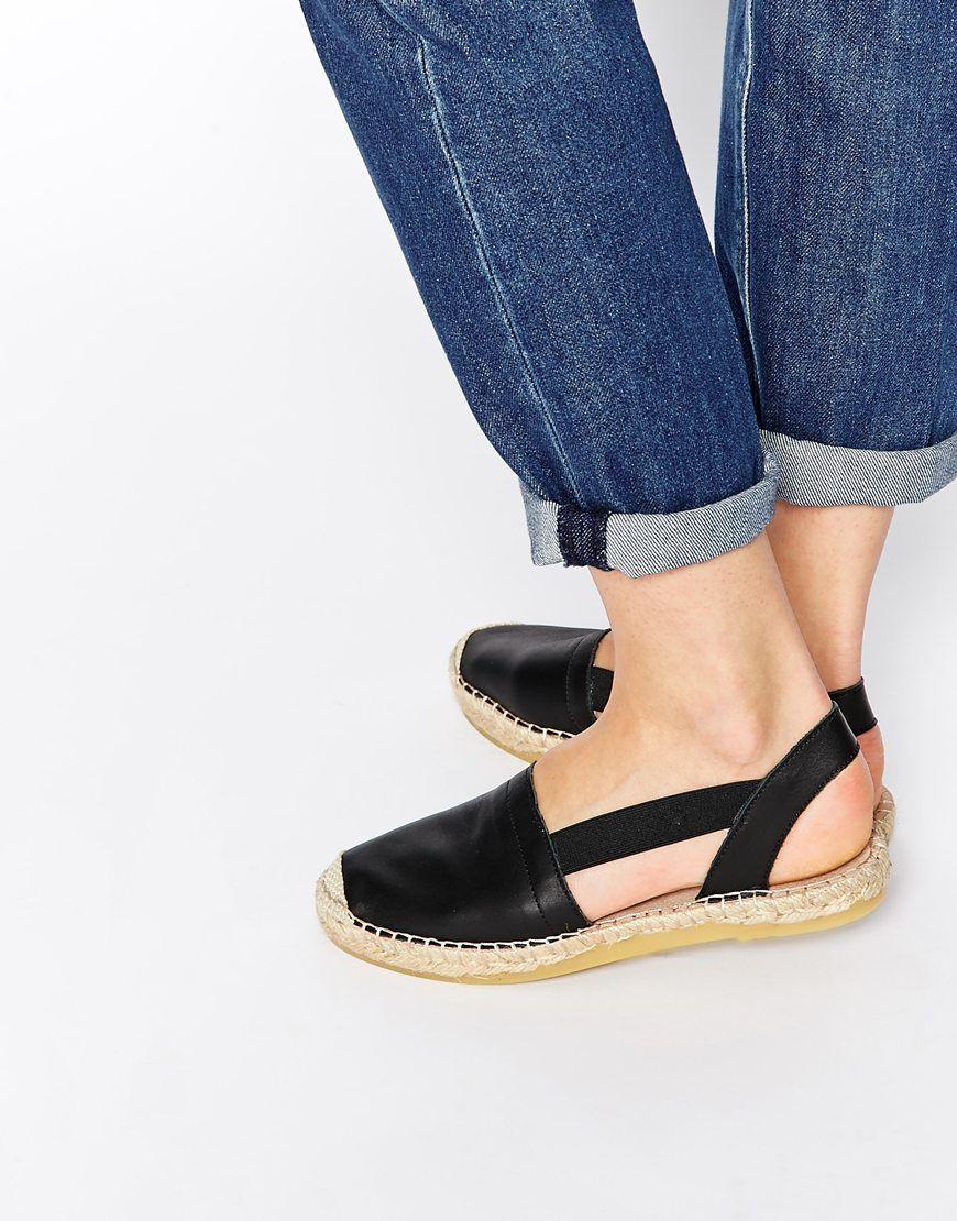 Selected Evita Black Leather Espadrille Flat Sandals L