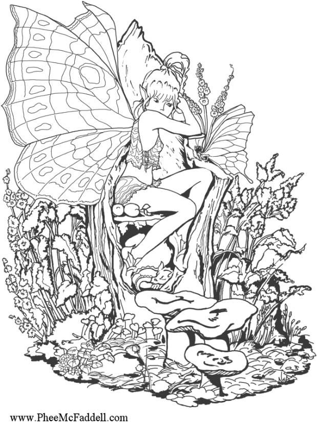 links to several printable coloring pages for grown ups including fairies unicorns dragons