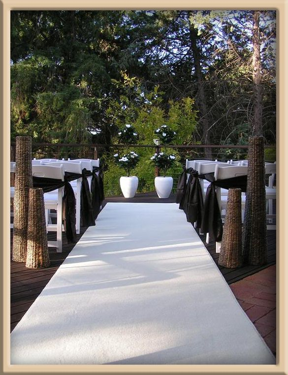 White Carpet Aisle Runner Personalised With Gold And Later Used As A Hall To