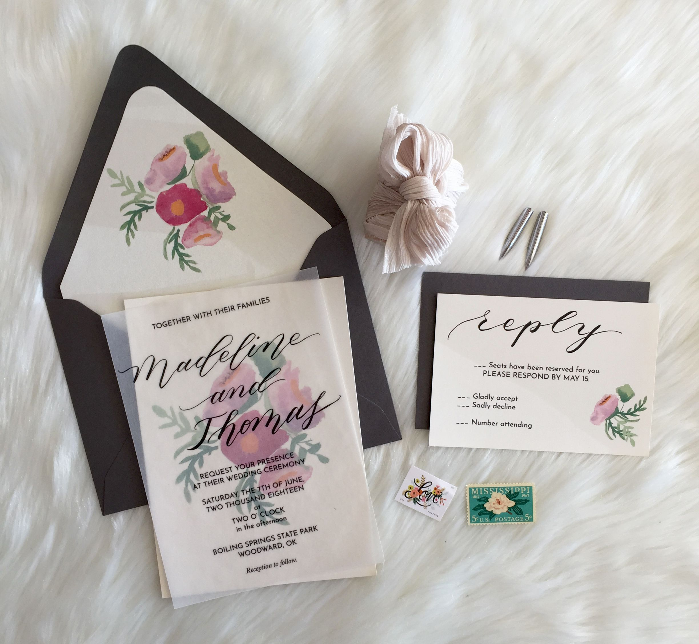 Soft And Romantic Wedding Invitation Flowing Calligraphy Wedding