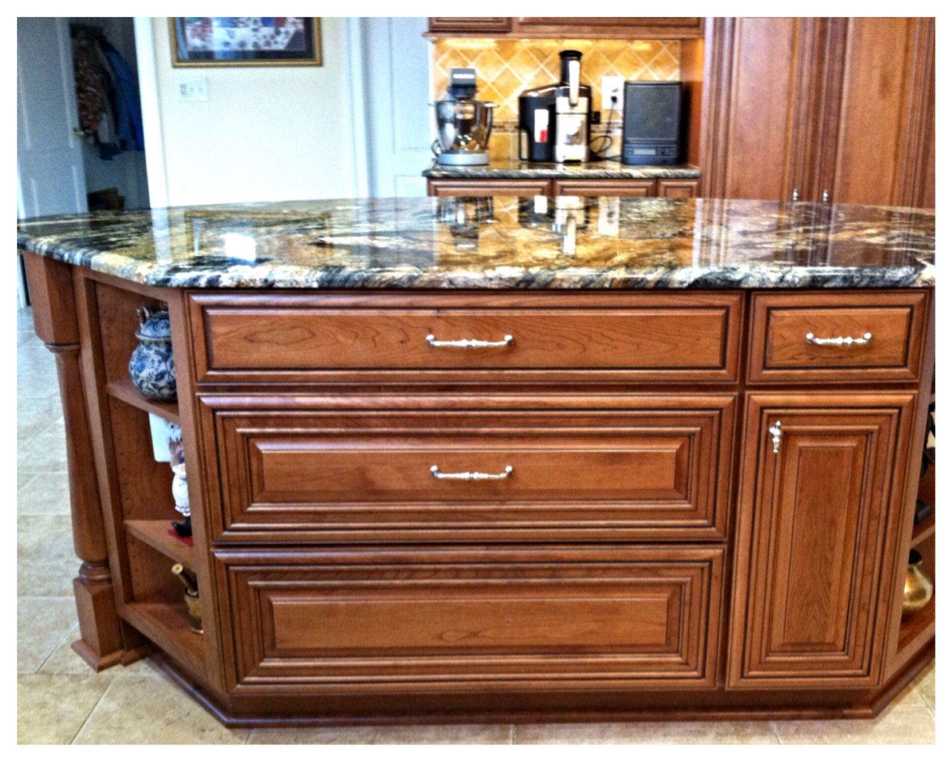 Under island | Kitchen remodel, Cherry cabinets, Onyx tile